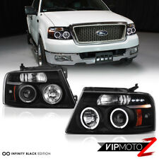 04-08 Ford F150 F-150 LOBO Black [HALO LED DRL] Projector Headlight Lamp LH+RH
