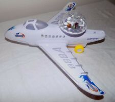 Bump and Go Fun Flash Blue Flame Fighter Jet Toy Airplane Battery Operated