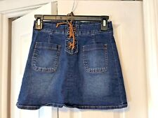 Justice Girls Sz 10 Dark Denim Tie Up Skirt Cotton Blend