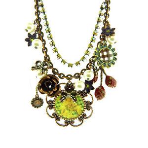Vintage Betsey Johnson Enamel Floral Crystal Necklace