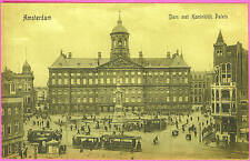 Postcard AMSTERDAM HOLLAND Palace and Trolley
