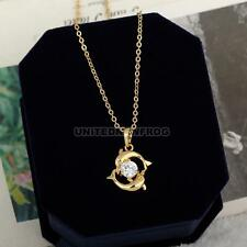 2017 Charm Womens Dolphin 18k Gold Plated Crystal Necklace Pendant Chain Jewelry
