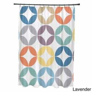 Eye Opener Geometric Print Shower Curtain – Purple / E by Design / NEW $108
