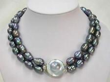 "Huge natural 2 row 18""19"" 12-13mm tahittian black baroque pearl necklace DA106"