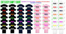 Eat Sleep Camp Kids T Shirt Unisex, Boys Girls, Camping, Choice of colours scout