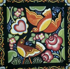 Bird Fabric Panel Julie Paschkis Bohemia Block 11.75 x 11.75 inches