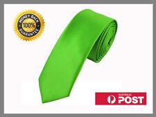 Lime Bright Green New Slim Solid Mens silk Tie groom wedding skinny Necktie