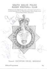SOUTH WALES POLICE v PONTYPRIDD 1 October 1980 SIGNED RUGBY PROGRAMME + COA