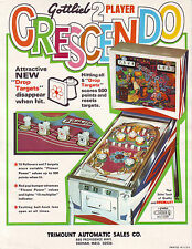 CRESCENDO By GOTTLIEB 1970 ORIGINAL NOS EM PINBALL MACHINE PROMO SALES FLYER