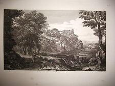 paysage. gravure, original 1842.POUSSIN