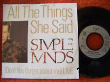 Simple Minds - All the things she said / Don´t you       klasse German Virgin 45