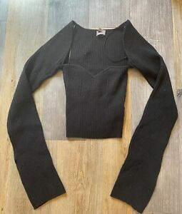 Urban Outfitters Cut Out Square Neck Stretch Knit Top Black M UK 10 BNWOT NEW