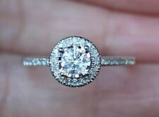 New Sz 7 10K 1/2ct Natural Round Diamond Miracle Halo Engagement Ring White Gold