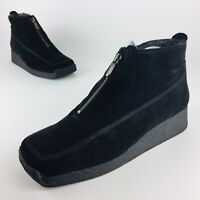 Aquatalia Weatherproof Boots Black Suede Zip Up Snow Booties Womens Sz 40 US 9