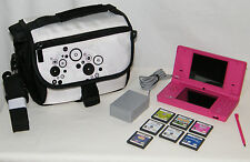 Lot . Genuine Nintendo DSi TWL-001 System . 7 Games . Power Supply . Case Bundle