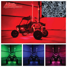 LED Lighted 6' Whip with WIRELESS Remote- ATV UTV RZR w/Smoke Skull Flag