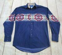 NICE VTG Wrangler Western Ranch Cowboy Tribal Print Blue Snap-Up Shirt Medium