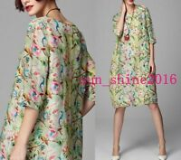 Women'S Ladies 3/4 Sleeve Short Dress Multi Color Floral Print Summer Beach Size