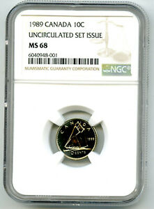 1989 CANADA 10 CENT NGC MS68 UNCIRCULATED SET ISSUE DIME COIN POP=3 RARE
