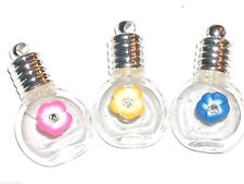 1pc. cognac crystal flower Miniature Glass small vial Bottle cabochons pendant