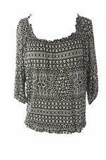 VELVET by Graham & Spencer Women's Black Floral Print Jewel Neck Top S $115 NEW