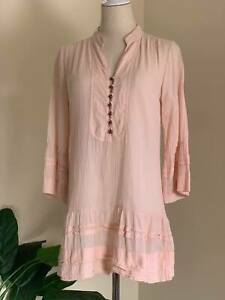 | MUUI | Womens Salmon Pink 3/4 Sleeve Crepe Cotton Blouse | Tiered | Size 8