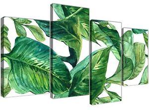 Large Green Palm Tropical Banana Leaves Canvas Art Print - Multi 4 Set - 4324
