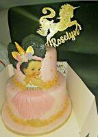 Custom Cake Topper Glitter Any word Any name personalised UNICORN age birthday