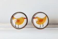 Vogel Ohrstecker Vintage Retro Cabochon Yellow Bird weiß gelb antik bronze