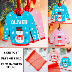 Personalised Christmas Bauble Tree Decoration Xmas Gift Boy Girl Gifts JUMPER