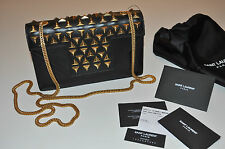 SAINT LAURENT Classic Small Black Leather Betty Clou Bag with Studs