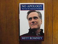 "MITT  ROMNEY  Signed 3"" x 5 1/2"" Card w/Book ""No Apology"" (2010 1st Edit Hardbac"