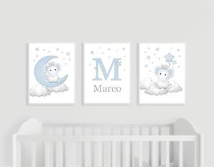 Elephant Nursery Prints, Set of 3, Blue and Grey, Personalised Baby Boy Moon