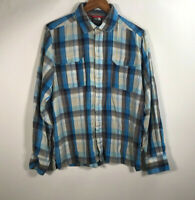 The North Face Men's Size M Flannel Blue Shirt Plaid Long Sleeve Button Up