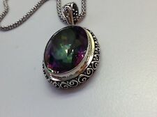 NWT Purple/Green Swarovsk Sterling Silver Pendant Necklace (Made in Bali)