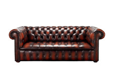 Chesterfield Edwardian 3 Seater Buttoned Seat Antique Rust Leather Sofa