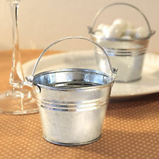 Silver Pails Miniature Galvanized Metal Bucket Wedding Favors Holders Pack of 12