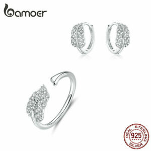 BAMOER Women CZ The feather Jewelry Set Ring Earring S925 silver Lady Jewelry