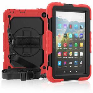 w/ Strap Silicone Case For Amazon Fire HD 8 10th Gen / 8 Plus 2020 Tough Cover