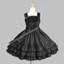 Reenactment Gothic Lolita Punk Jumper Skirt Fluffy Victorian Cute Black Dress