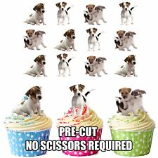 PRECUT Jack Russell Dogs Puppy 12 Edible Cupcake Toppers Decorations Birthdays