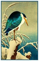 Ohara Shoson Koson Blue Heron in Snow Bird Counted Cross Stitch Pattern
