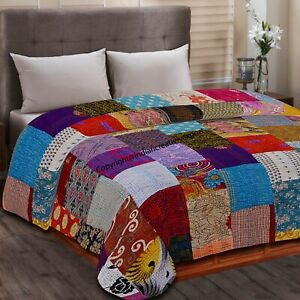 Twin Size Patchwork Indien silk Bed Cover Kantha Quilt Throw Bedspread blanket