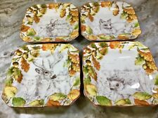 222 Fifth Square Side Plates Birkhill Manor. Set Of 4. Porcelain. New.