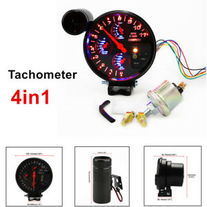 "Auto Car Modified 5"" Tachometer RPM Meter Gauge Oil Pressure Water Oil Temp Kit"