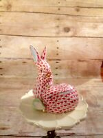 Herend Hungary Porcelain Hand-painted Fishnet Rabbits Figurine 24k Gold Accents