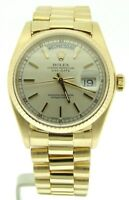Mens Rolex Day-Date President 18K Yellow Gold Watch Quickset Silver Dial 18038