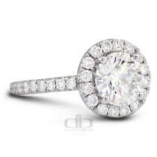 2.55ct tw E SI1 Round Natural Certified Diamonds 18K Gold Halo Side Stone Ring