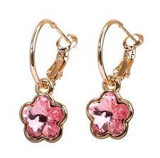 Swarovski Elements Crystal Plum Blossom Pierced Earrings Gold Authentic 7299Gv