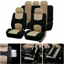 10Pcs Universal Car Seat Cover Set Thicken Canvas All Season Protectors Beige